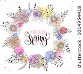 floral wreath with hello spring ... | Shutterstock .eps vector #1014954418