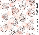 easter background with eggs... | Shutterstock .eps vector #1014954442