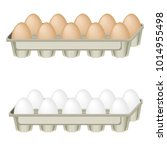 eggs in the tray. | Shutterstock .eps vector #1014955498