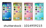 4 colors smartphones  mobile...