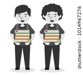 students carrying multiple book ... | Shutterstock .eps vector #1014967276