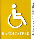 Small photo of Handicap sign for patient or cripple person (Universal design concept for everybody )