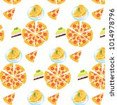 seamless pattern is pizza and... | Shutterstock .eps vector #1014978796