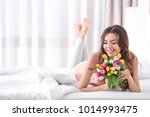 Beautiful Woman With Bouquet O...