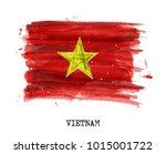 watercolor flag of vietnam .... | Shutterstock .eps vector #1015001722