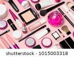 set of makeup cosmetics ... | Shutterstock . vector #1015003318