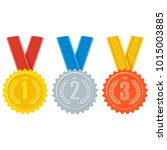 gold  silver and bronze medal... | Shutterstock .eps vector #1015003885