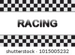checkered racing flag isolated... | Shutterstock .eps vector #1015005232