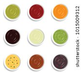sauce set in nine bowls vector... | Shutterstock .eps vector #1015009312