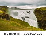 gullfoss waterfall in golden... | Shutterstock . vector #1015014208