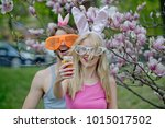 spring. easter. happy couple in ... | Shutterstock . vector #1015017502
