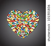 illustration of colorful medical pill forming heart shape - stock vector