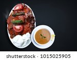 kebap with yogurt is one of the ... | Shutterstock . vector #1015025905