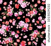 pink flowers on black background | Shutterstock . vector #1015029232