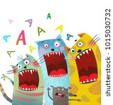 fun cats and mouse karaoke... | Shutterstock .eps vector #1015030732