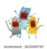 Stock vector three friends cats singing karaoke song funny cartoon of crazy kitten company vector illustration 1015030735