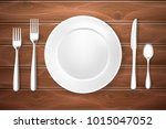 realistic table setting ... | Shutterstock .eps vector #1015047052
