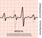 cardiology concept with pulse... | Shutterstock .eps vector #1015049662