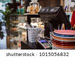 cash desk and showcase with... | Shutterstock . vector #1015056832