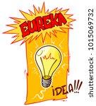 cartoon lightning bulb with... | Shutterstock .eps vector #1015069732