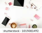 feminine workspace  notebook ... | Shutterstock . vector #1015081492
