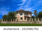 luxury house with a two car... | Shutterstock . vector #1015081702
