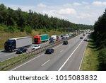 traffic jam on a highway in... | Shutterstock . vector #1015083832