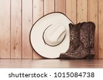 cowgirl embroidered boots and... | Shutterstock . vector #1015084738
