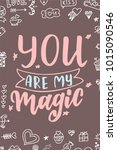 hand drawn poster with love... | Shutterstock .eps vector #1015090546