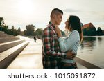 outdoor portrait. happy smiling ... | Shutterstock . vector #1015091872