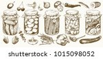 jars with pickled vegetables... | Shutterstock .eps vector #1015098052