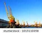 cargo sea port. sea cargo... | Shutterstock . vector #1015110358