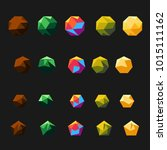 color low poly shapes set... | Shutterstock .eps vector #1015111162