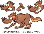 cartoon brown wolf with... | Shutterstock .eps vector #1015127998