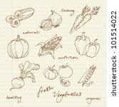 set of vegetables doodles vector | Shutterstock .eps vector #101514022