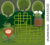 maze game for kids. help red... | Shutterstock .eps vector #1015153132