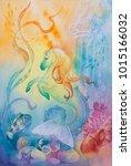 underwater world.  seahorse.... | Shutterstock . vector #1015166032