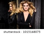 beautiful young model in mirror.... | Shutterstock . vector #1015168075