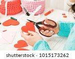 valentine's day theme. female... | Shutterstock . vector #1015173262