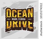 ocean drive miami beach florida ... | Shutterstock .eps vector #1015174312