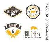 vector set of butchery labels ...   Shutterstock .eps vector #1015187752