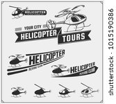 set of helicopter emblems ... | Shutterstock .eps vector #1015190386