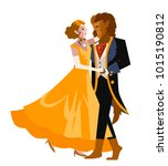 beauty and the beast faity tale   Shutterstock .eps vector #1015190812