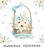 Stock photo hand drawn watercolor happy easter set with bunnies design rabbit bohemian style isolated boho 1015193185