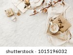 winter cozy background with cup ... | Shutterstock . vector #1015196032