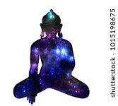 silhouette of sitting buddha...   Shutterstock . vector #1015198675