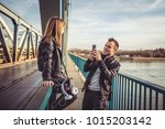 father and daughter wearing... | Shutterstock . vector #1015203142