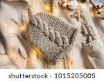 knitted caps in the interior... | Shutterstock . vector #1015205005