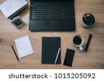 workstation with laptop... | Shutterstock . vector #1015205092