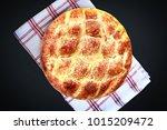 fresh pita on black background.  | Shutterstock . vector #1015209472